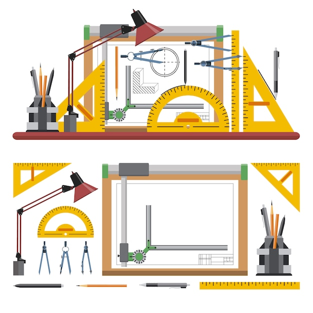 建築家やデザイナーの職場はフラットスタイルのベクトル図です。描画ツールと楽器製図板。 Premiumベクター