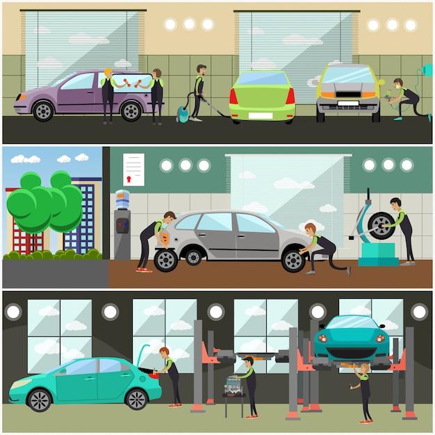 Набор автосервиса, автосервис концепции иллюстрации Premium векторы