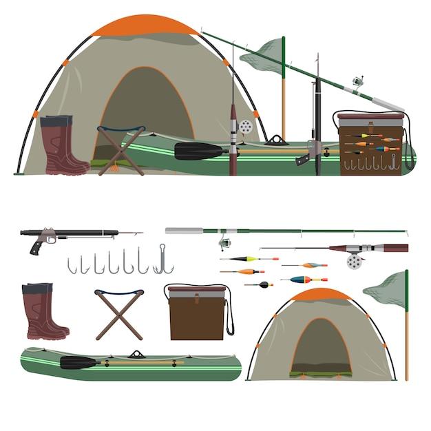 Векторный набор рыболовных объектов. удочка, лодка, палатка, ботинки, крючки. Premium векторы