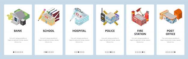 モバイルアプリのオンボーディング画面。市の建物、銀行、警察、病院、学校、消防署。 Premiumベクター