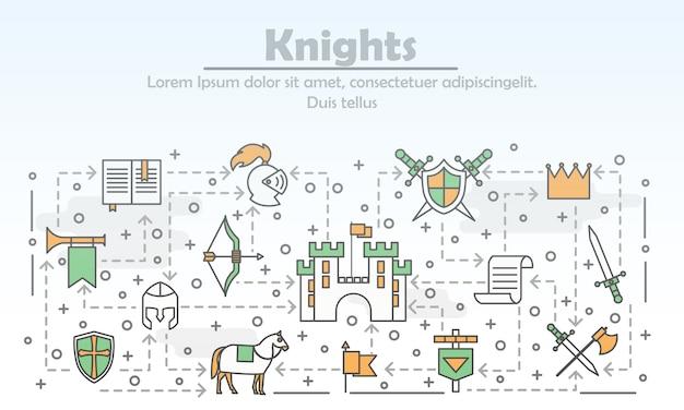 細い線画中世の騎士のポスター Premiumベクター