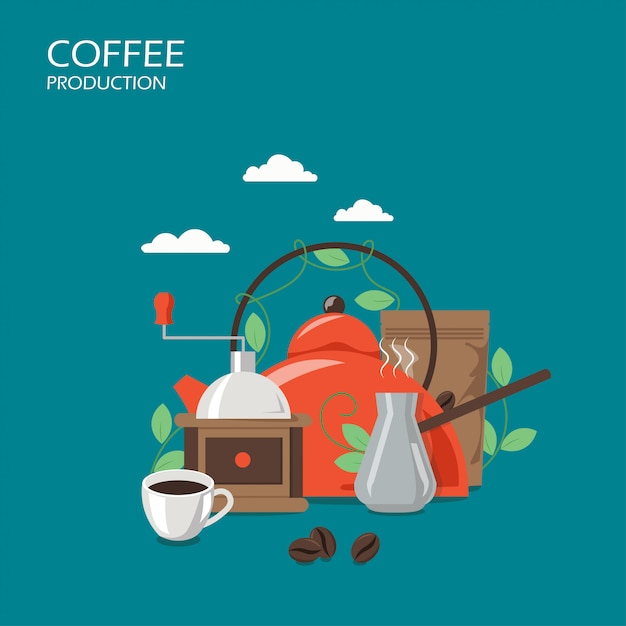 Производство кофе вектор плоский дизайн иллюстрация Premium векторы