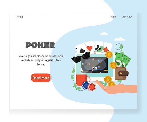 オンラインポーカーウェブサイトのランディングページのデザインテンプレート Premiumベクター