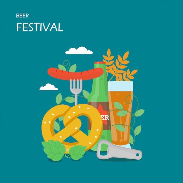Фестиваль пива плоский дизайн иллюстрация Premium векторы