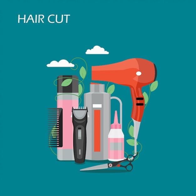 髪カットベクトルフラットスタイルイラスト Premiumベクター