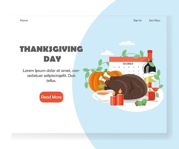 感謝祭のベクトルのウェブサイトのランディングページバナーテンプレート Premiumベクター