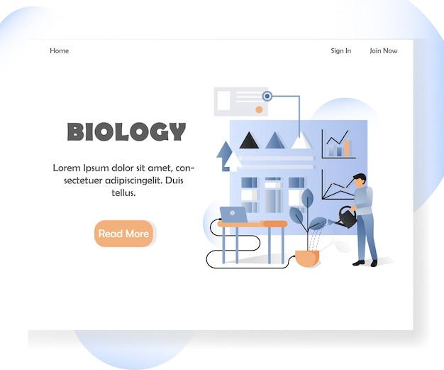 生物学ウェブサイトのランディングページテンプレート Premiumベクター