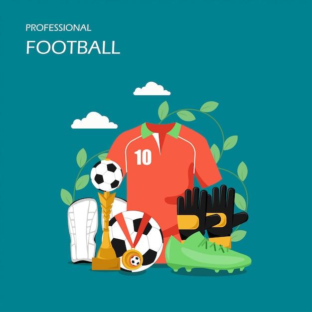 プロサッカーベクトルフラットスタイルデザインイラスト Premiumベクター