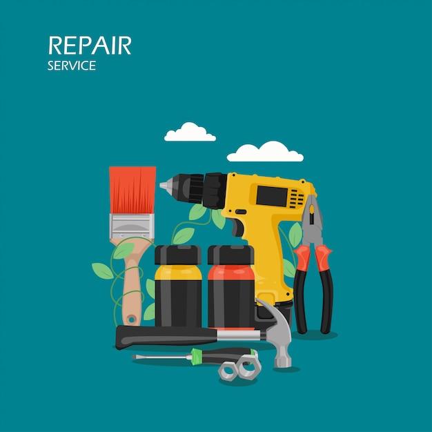 修理サービスのフラットスタイルの図 Premiumベクター