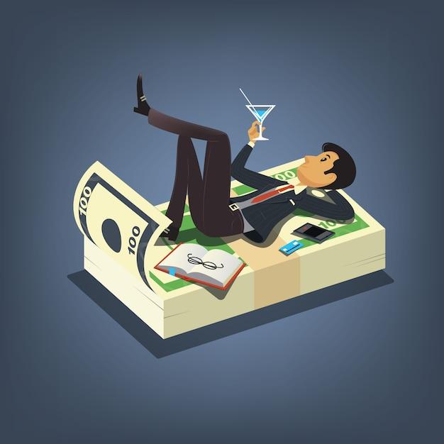 Успешный бизнесмен, пить коктейль и отдыхать на кучу денег. бизнес векторные иллюстрации концепции в мультяшном стиле Premium векторы
