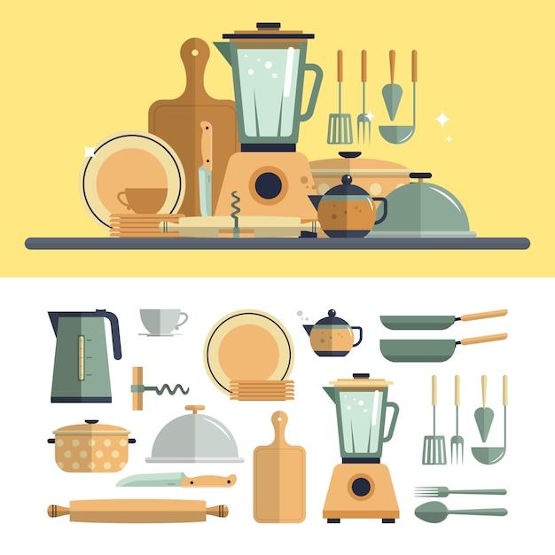 台所調理器具の要素が分離されました。フラットなデザインのベクトル図やかん、ミキサー、皿、フライパン、オープナー。 Premiumベクター