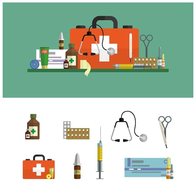 Здравоохранение и медицинская плоская иллюстрация. аптечка первой помощи и элементы дизайна. медицинские инструменты, лекарства, ножницы, стетоскоп, шприц. Premium векторы