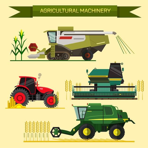 農業用車両および農機具のベクトルを設定します。トラクター、ハーベスター、コンバイン。フラットなデザインのイラスト。農業事業コンセプト農業機械農作物の収穫 Premiumベクター
