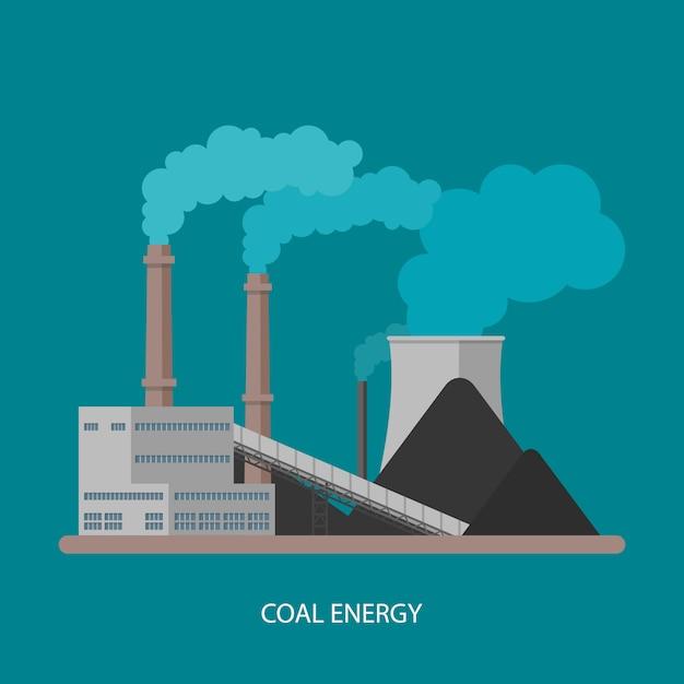 Угольная электростанция и завод. энергетическая промышленная концепция. иллюстрация в плоском стиле. угольная электростанция фон. Premium векторы