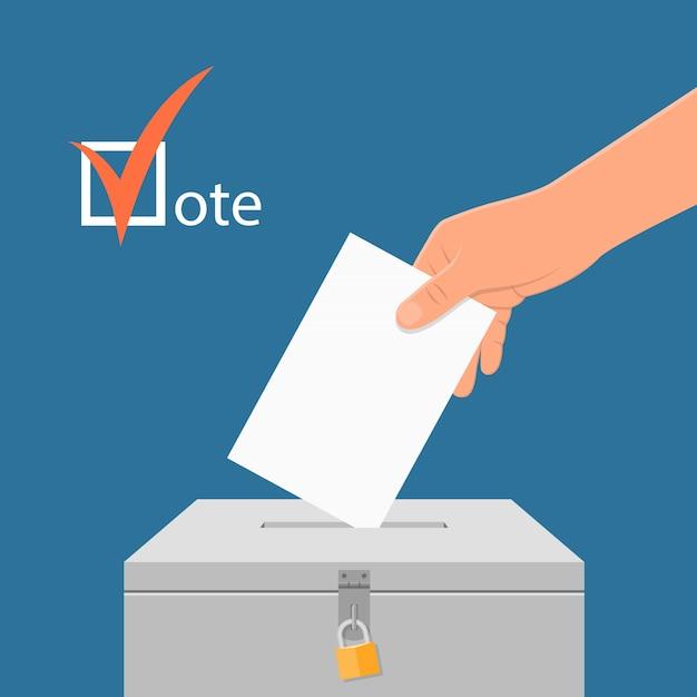 選挙日の概念図。投票箱に投票用紙を置く手。フラットスタイルの投票の概念。 Premiumベクター
