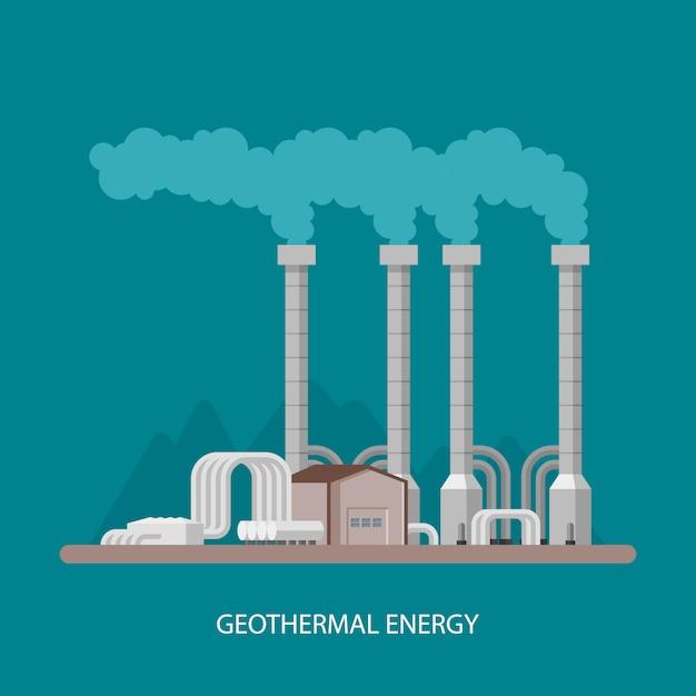 Геотермальная электростанция и завод. геотермальная энергия промышленной концепции. иллюстрация в плоском стиле. геотермальная станция фон. возобновляемые источники энергии. Premium векторы