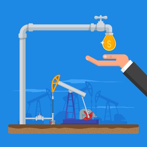 Преобразование нефти в деньги концепции. получить наличные из трубы. топливные насосы. иллюстрация в плоском стиле. бензин и газовая промышленность Premium векторы