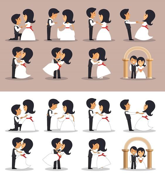 異なる姿勢で夫婦を結婚しました。フラットスタイルのベクトル図です。結婚式のカップル。 Premiumベクター