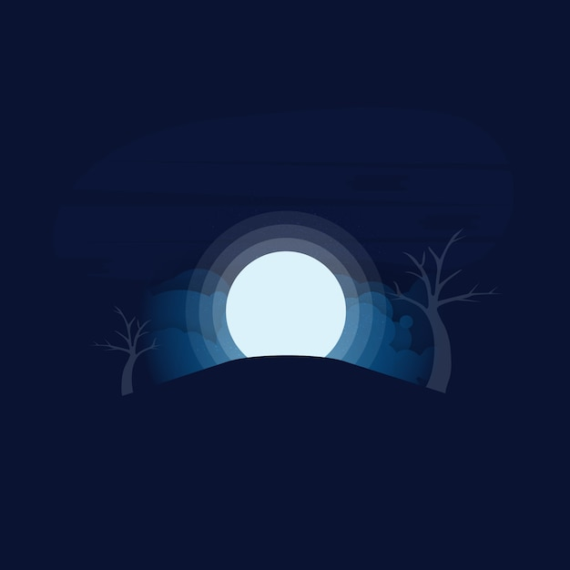 満月と現実的なベクトルの背景 Premiumベクター