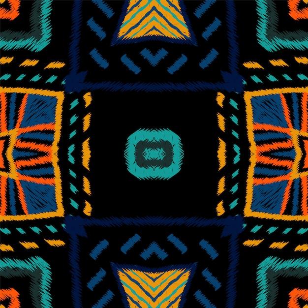 マルーンの描画部族。藍絞りベクターのシームレスパターン Premiumベクター