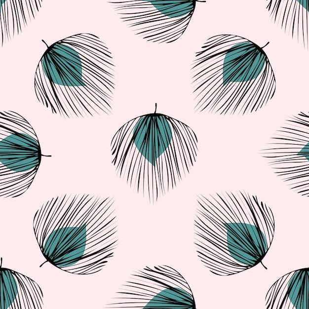 緑の熱帯の葉のシームレスパターン。 Premiumベクター