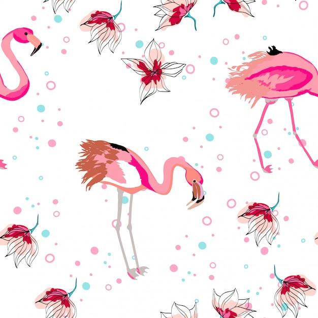 Розовый фламинго с тропическими листьями цветочные бесшовные модели. Premium векторы