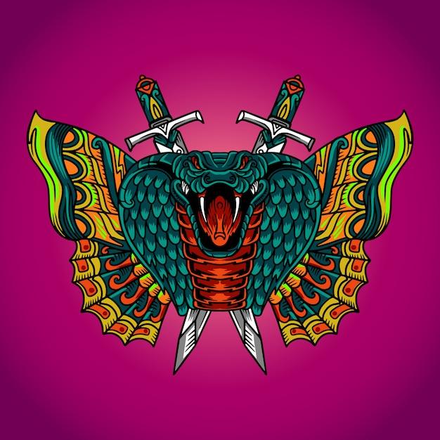 Змея кобра бабочка вектор тату Premium векторы