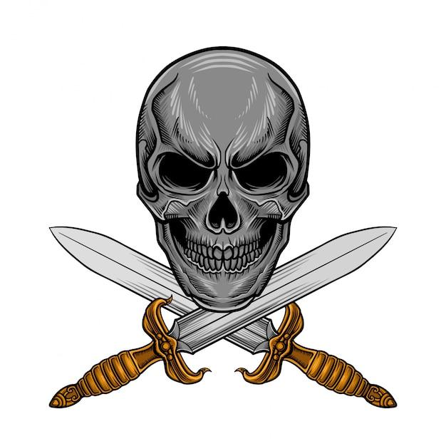 頭蓋骨の刀ベクトル Premiumベクター