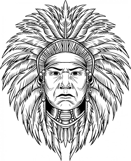 インディアンチーフベクトル図 Premiumベクター