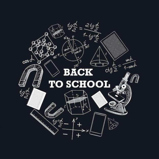 Баннер обратно в школу с изображением школьных принадлежностей. Premium векторы