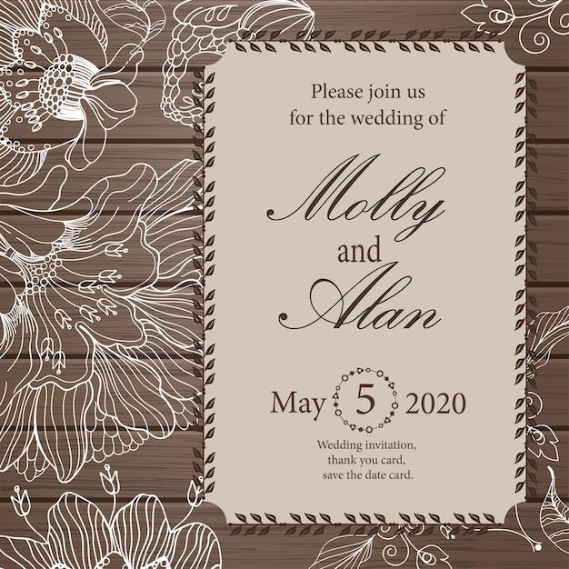結婚式の招待状、ありがとうカード、日付カードを保存します。 Premiumベクター