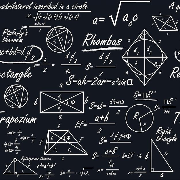 幾何学的図形や数式を使った数学的なシームレスパターン Premiumベクター
