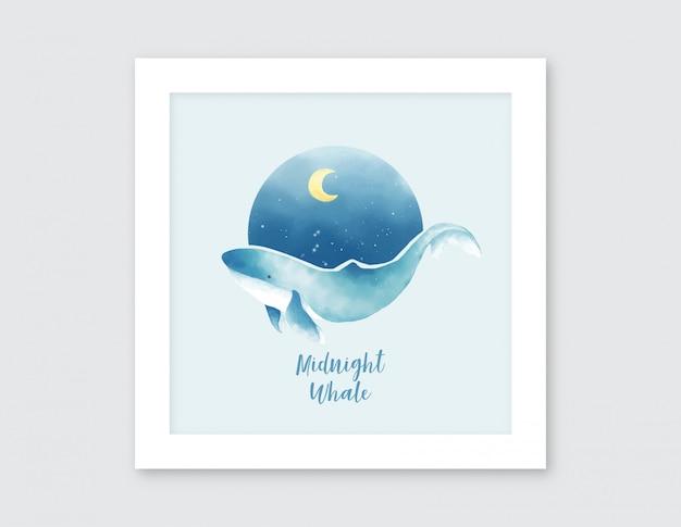 真夜中のクジラの水彩イラスト Premiumベクター