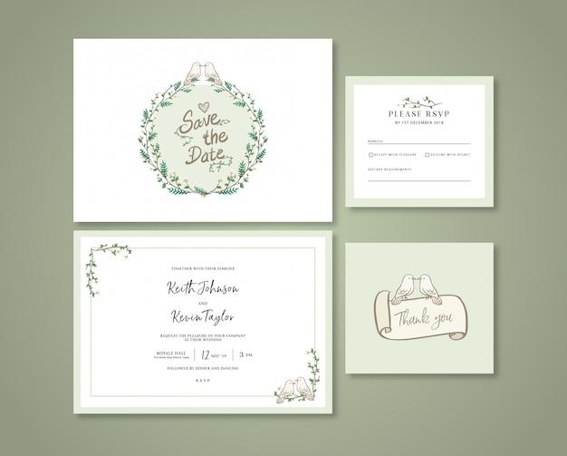手描きパステルグリーンの結婚式の招待状 Premiumベクター