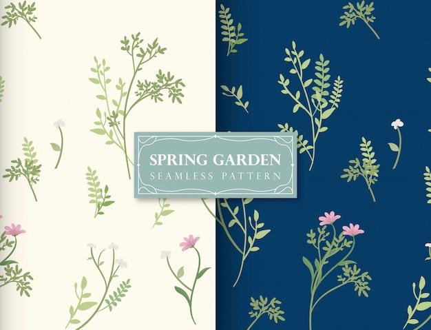春の庭のシームレスパターン Premiumベクター