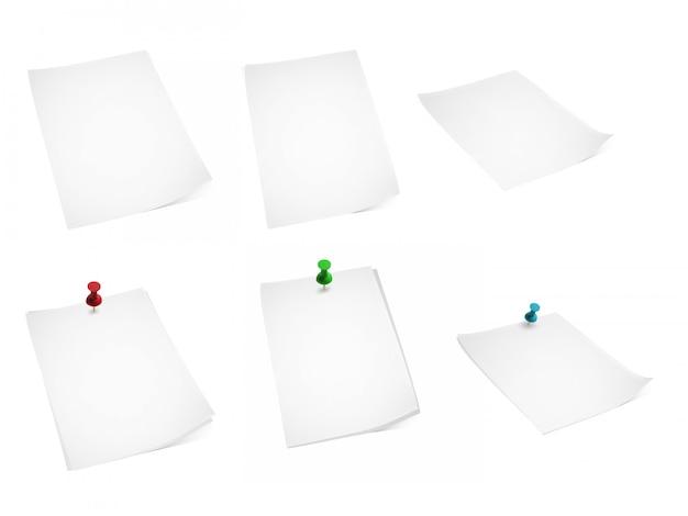 Набор бумаги и канцелярских кнопок Premium векторы