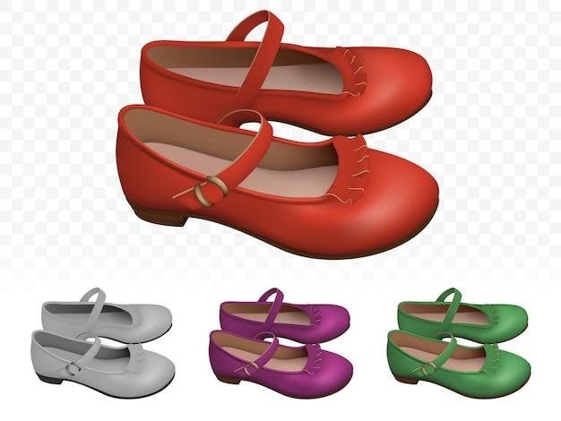 エレガントな赤い女性靴セット Premiumベクター