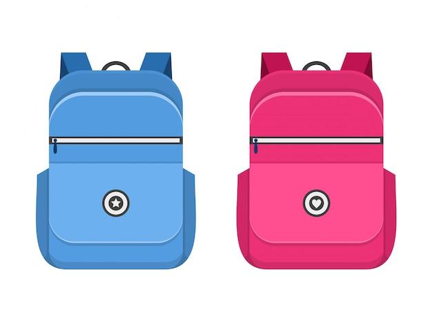 Синие и розовые значки школьный портфель Premium векторы