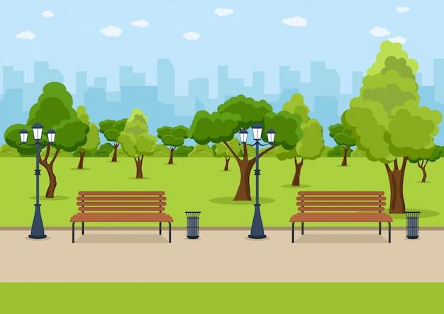 シティパークの木製ベンチ Premiumベクター