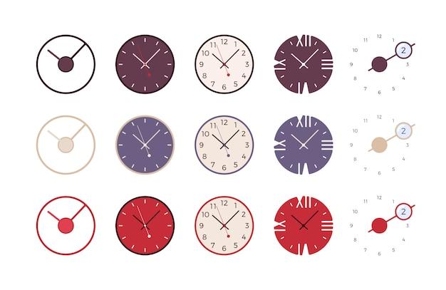 モダンな壁時計のセット Premiumベクター