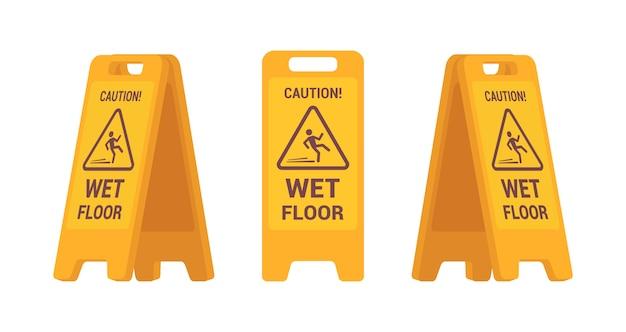 ぬれた床サインのセット Premiumベクター