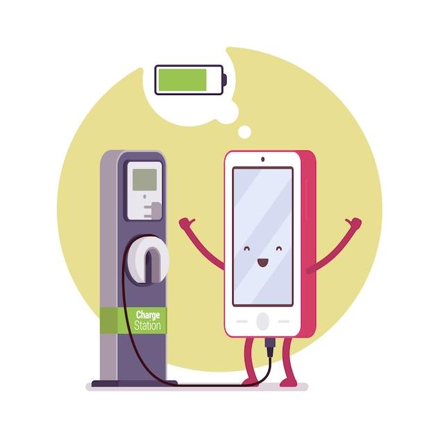 駅の近くでスマートフォンを充電する Premiumベクター