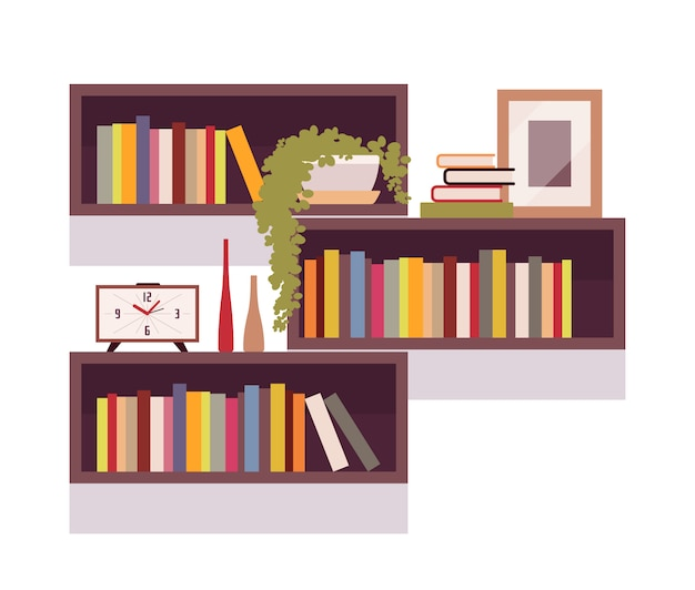 レトロな長方形の本棚のセット Premiumベクター