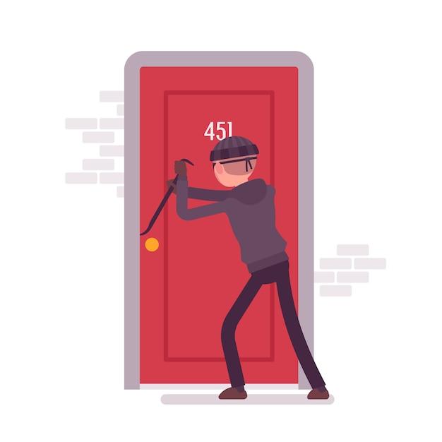 泥棒がドアを壊す Premiumベクター
