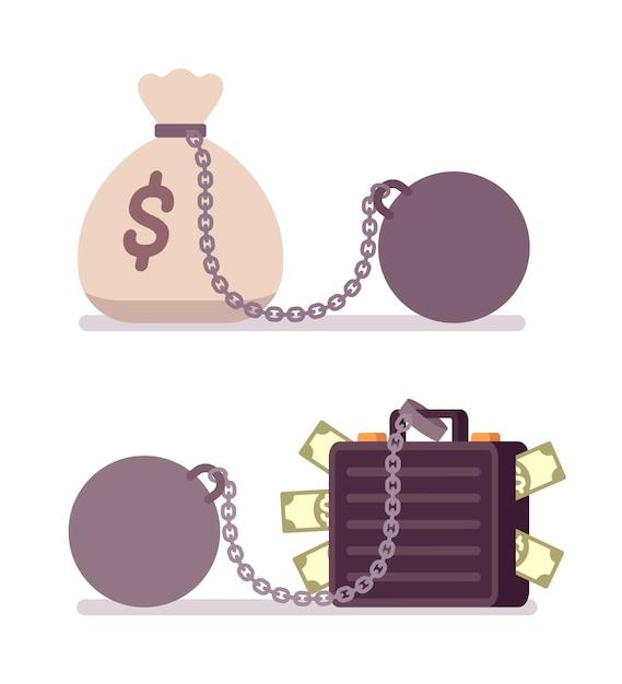 重量のある金属チェーンのケースとお金の袋 Premiumベクター