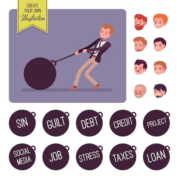 チェーンに巨大な重い重量をドラッグするビジネスマン Premiumベクター