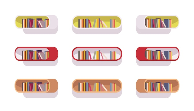 Набор ретро овальных книжных полок Premium векторы