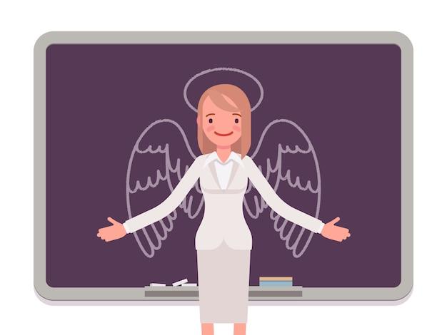 描かれた天使を持つ女性 Premiumベクター