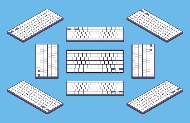 Изометрические универсальная черная клавиатура компьютера с белыми пустыми клавишами Premium векторы