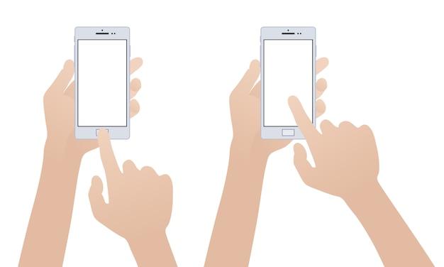 白いスマートフォンを持っている手 Premiumベクター